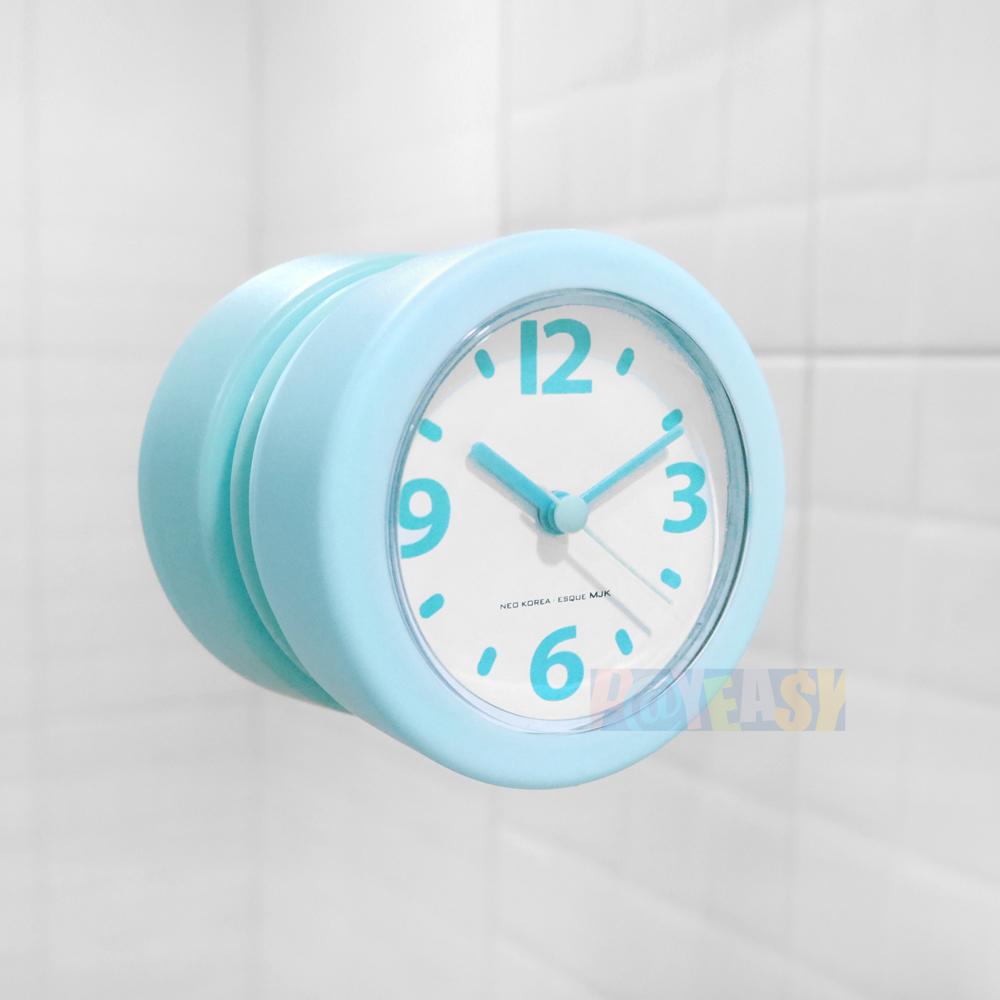 迷你轻巧厨房浴室吸盘防水防潮时钟 - 浅蓝色