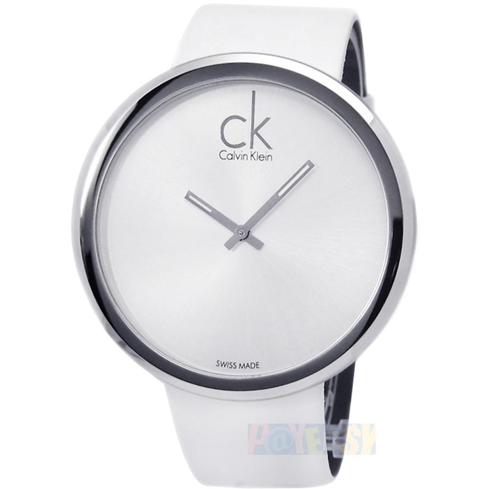 CK  K0V23120  SUBTLE 大圓盤極簡皮帶腕錶_白