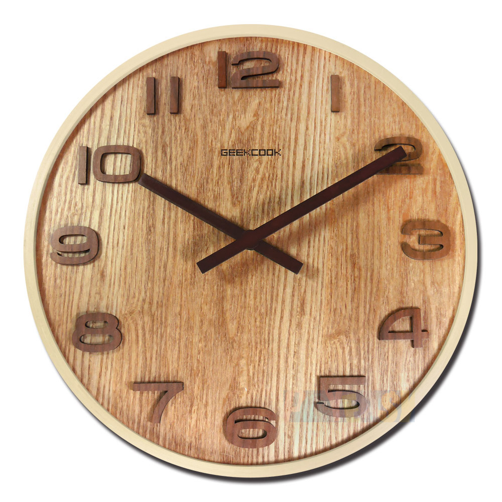 14吋日式简约居家木质撞色立体刻度清新风格餐厅客厅卧室静音挂钟 - 原木色