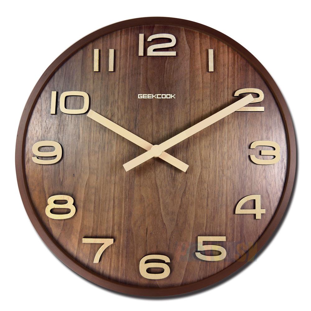14吋日式简约居家木质撞色立体刻度清新风格餐厅客厅卧室静音挂钟 - 核桃色