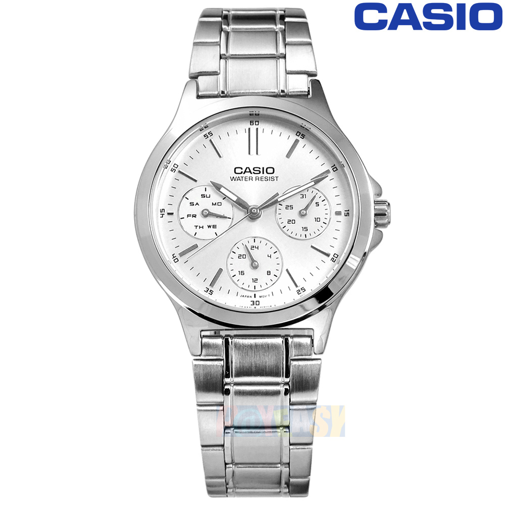 CASIO / LTP-V300D-7A / 卡西欧简约三眼三针星期日期防水不锈钢手表 银色 32mm