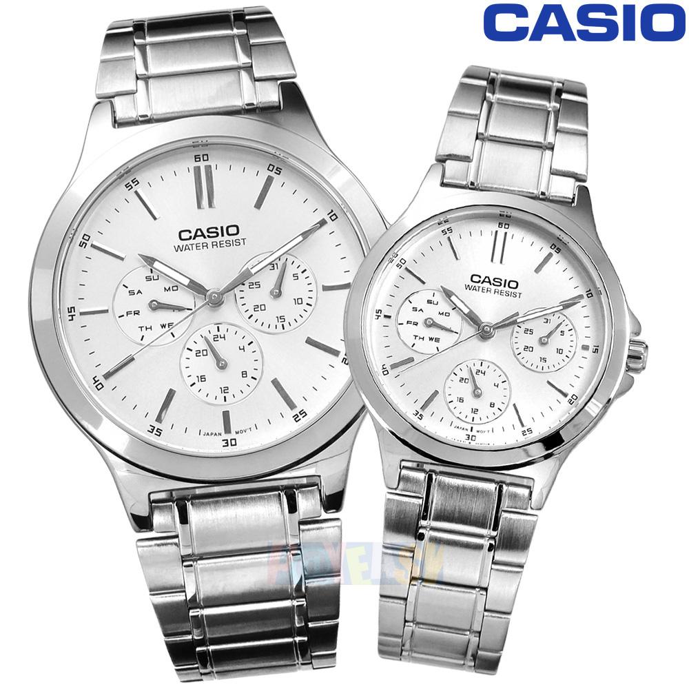 CASIO / MTP-V300D-7A.LTP-V300D-7A / 卡西欧简约三眼三针星期日期防水不锈钢 情人 情侣对表 银色 40+32mm