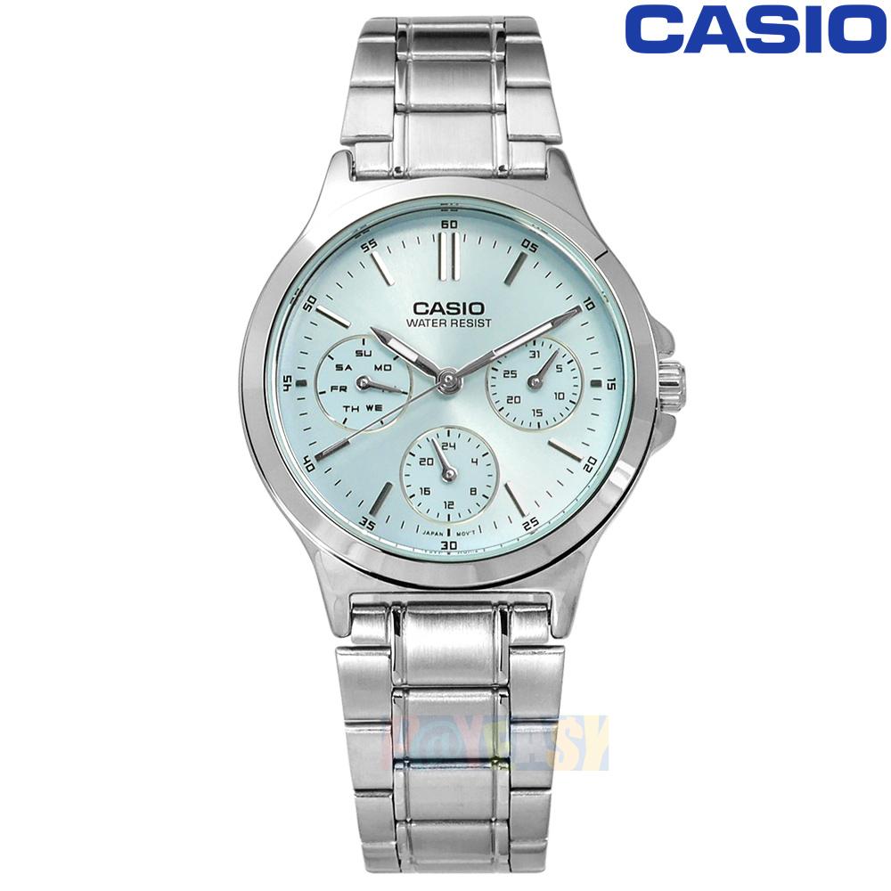 CASIO / LTP-V300D-2A / 卡西欧简约三眼三针星期日期防水不锈钢手表 水蓝色 32mm