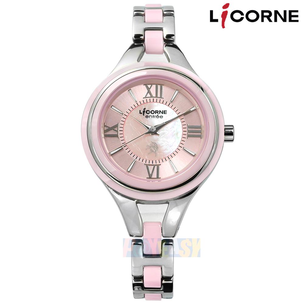 LICORNE 力抗 / LT108LTPR / entree 罗马珍珠母贝蓝宝石水晶玻璃防水不锈钢陶瓷手鍊式手表 粉色 32mm