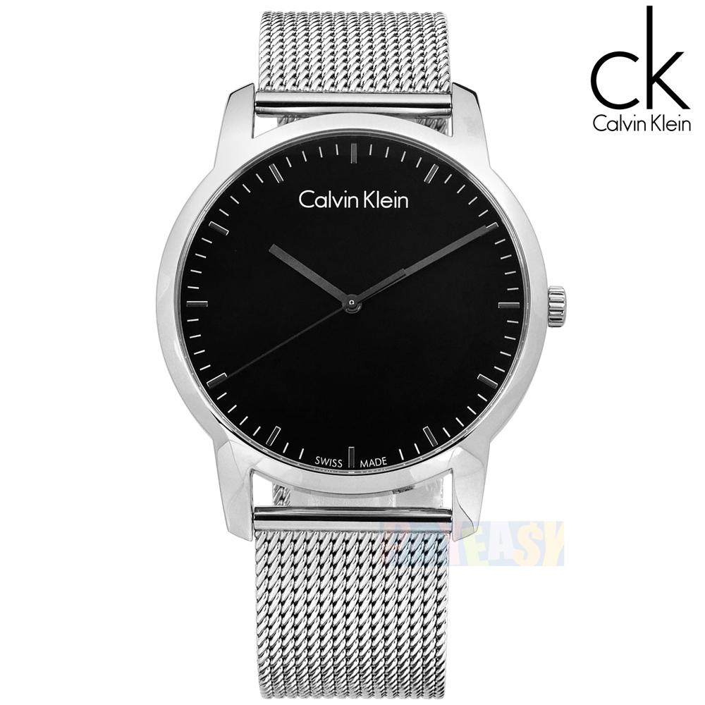 CK  K2G2G121  簡約品味 瑞士 米蘭編織不鏽鋼手錶 銀色 43mm