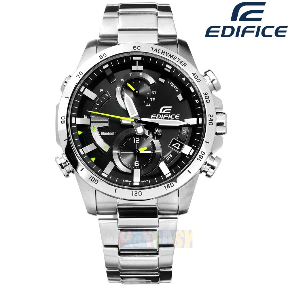 EDIFICE CASIO / EQB-900D-1A / 卡西欧 太阳能 蓝牙连线 世界时间 计时 防水100M 不锈钢手表 黑色 42mm