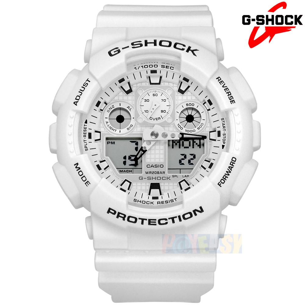 G-SHOCK CASIO / GA-100MW-7A / 卡西欧 指针数码双显 码表计时 防水200M 运动 橡胶手表 白色 51mm