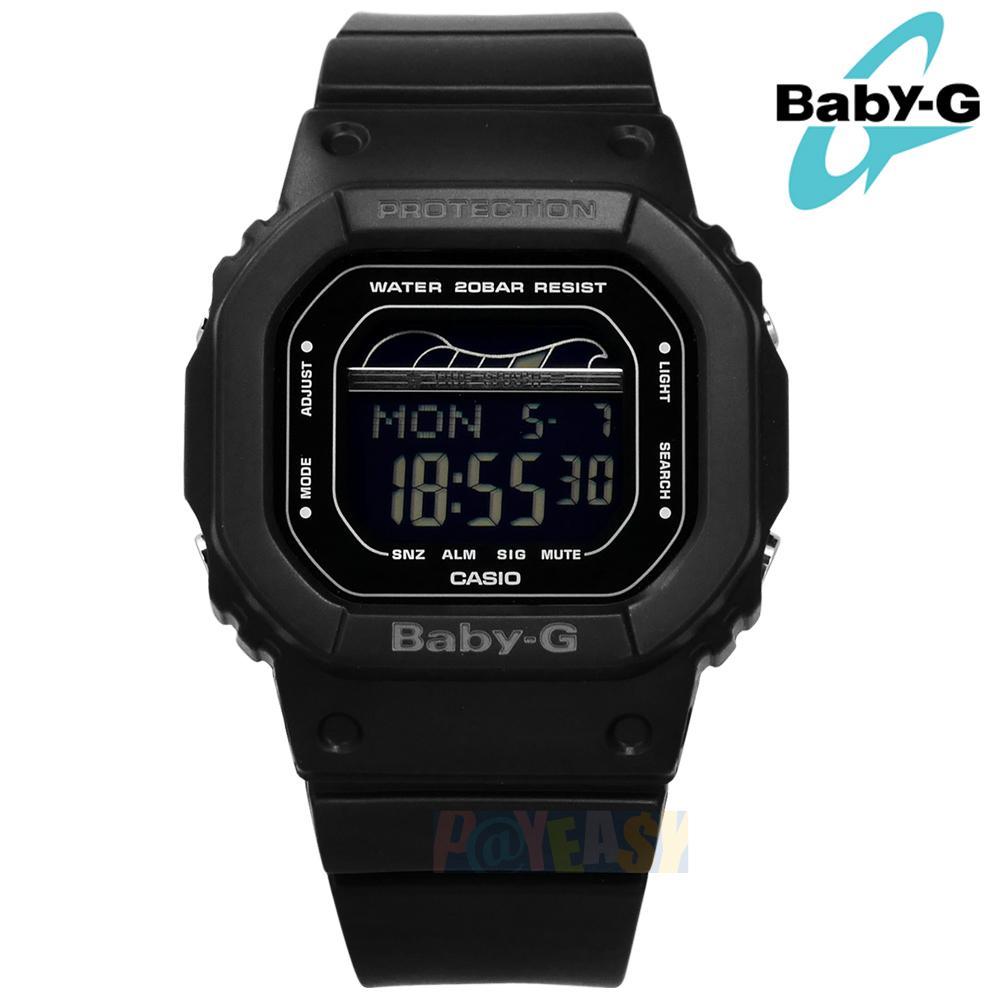 Baby-G CASIO / BLX-560-1 / 卡西欧 电子数码 潮汐图 计时码表 防水200米 运动 橡胶手表 黑色 40mm