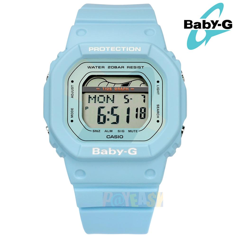 Baby-G CASIO / BLX-560-2 / 卡西欧 冲浪板造形 潮汐图 计时码表 防水200米 电子 橡胶手表 蓝色 40mm
