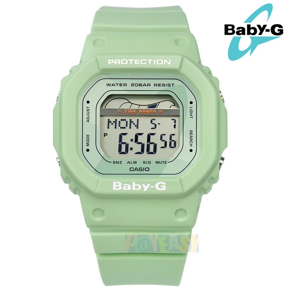 Baby-G CASIO / BLX-560-3 / 卡西欧 冲浪板造形 潮汐图 计时码表 防水200米 电子 橡胶手表 绿色 40mm