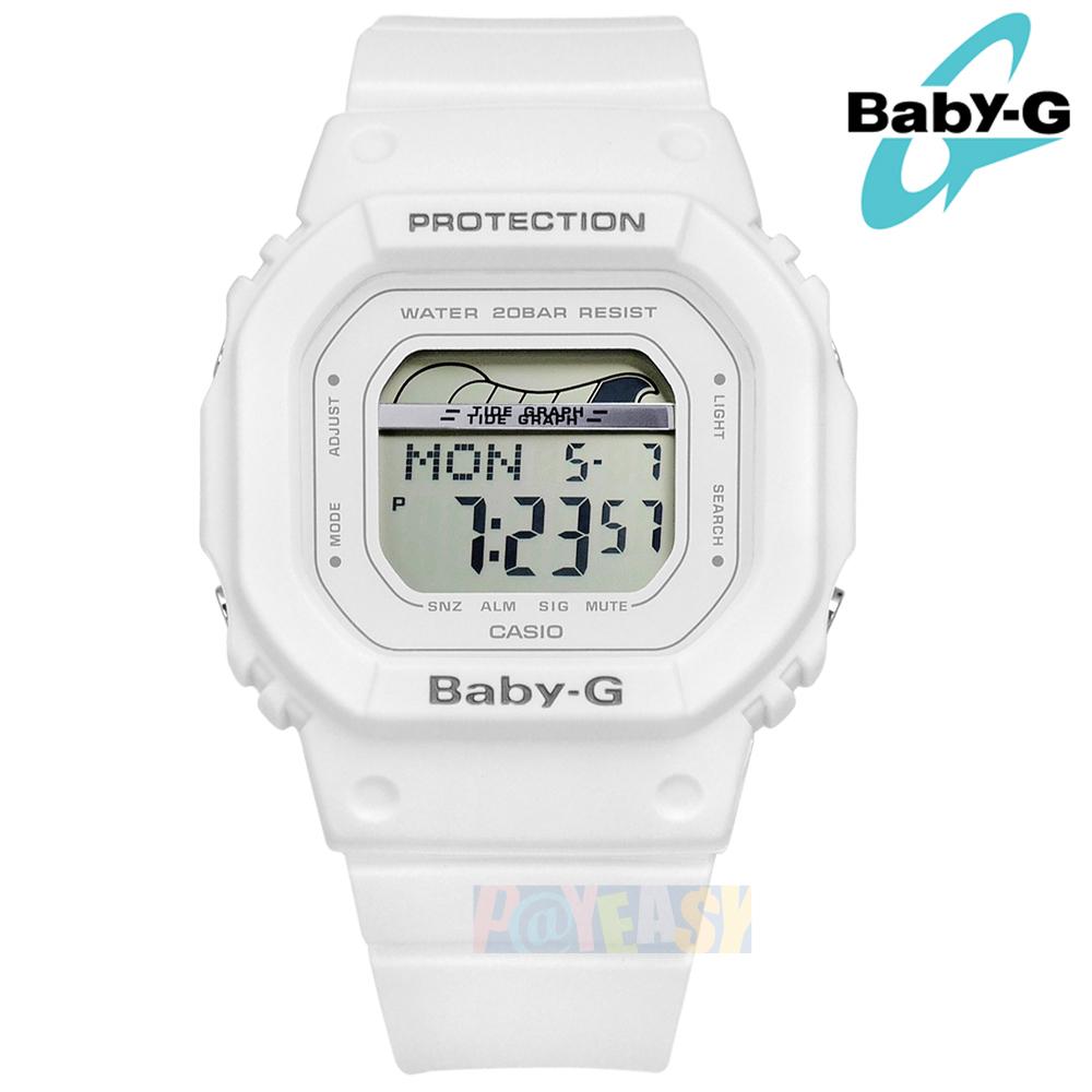 Baby-G CASIO / BLX-560-7 / 卡西欧 电子数码 潮汐图 计时码表 防水200米 运动 橡胶手表 白色 40mm