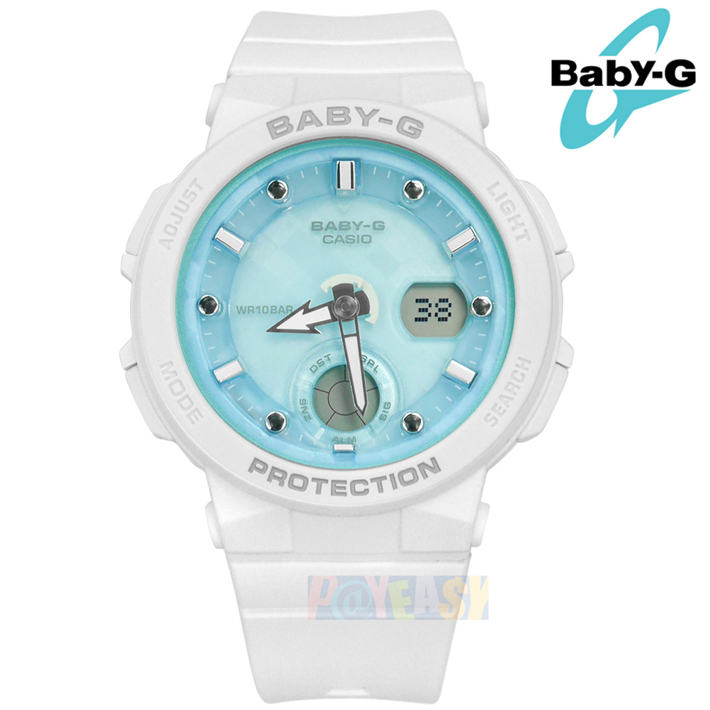 Baby-G CASIO / BGA-250-7A1 / 卡西欧 双显 霓虹灯光 码表 世界时间 防水100米 橡胶手表 蓝白色 42mm