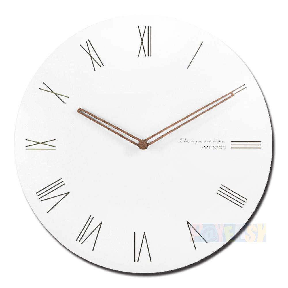 12吋简约时尚现代居家 轻薄简约 罗马时标 餐厅客厅卧室静音 圆挂钟 - 白色