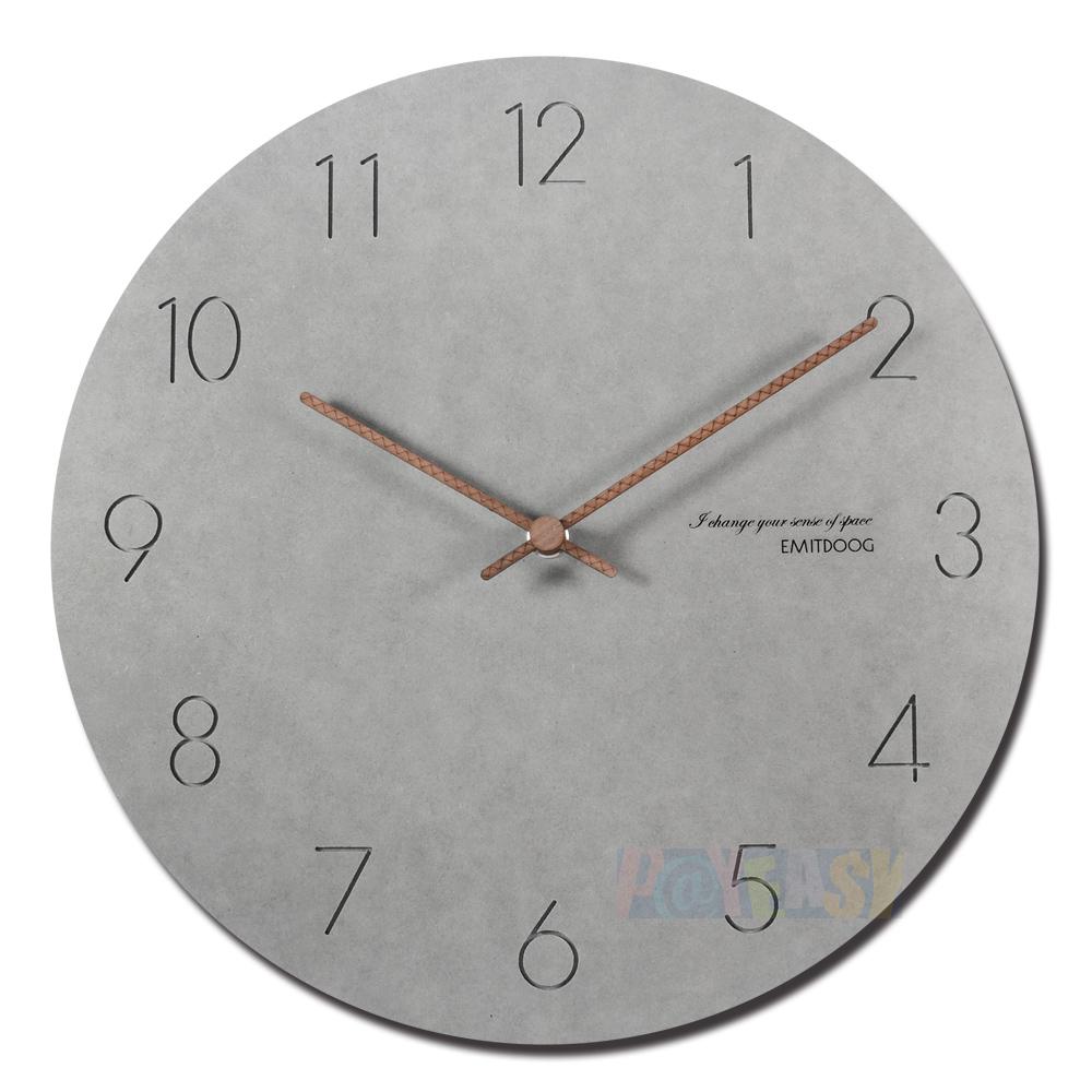12吋简约时尚现代居家轻薄简约清水模阿拉伯数字时标餐厅客厅卧室静音圆挂钟 - 灰色