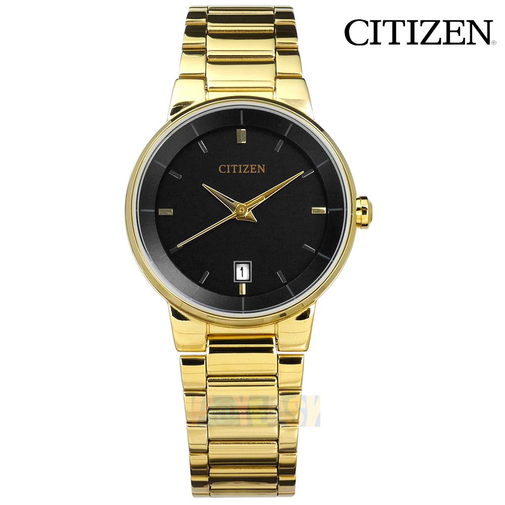 CITIZEN / EU6012-58E / 经典简约 矿石强化玻璃 日期视窗 日本机芯 不锈钢手表 黑x镀金 27mm