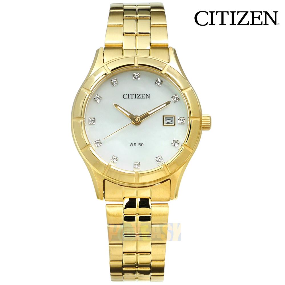 CITIZEN / EU6042-57D / 珍珠母贝 晶钻点缀 矿石强化玻璃 日期视窗 不锈钢手表 银白x镀金 28mm