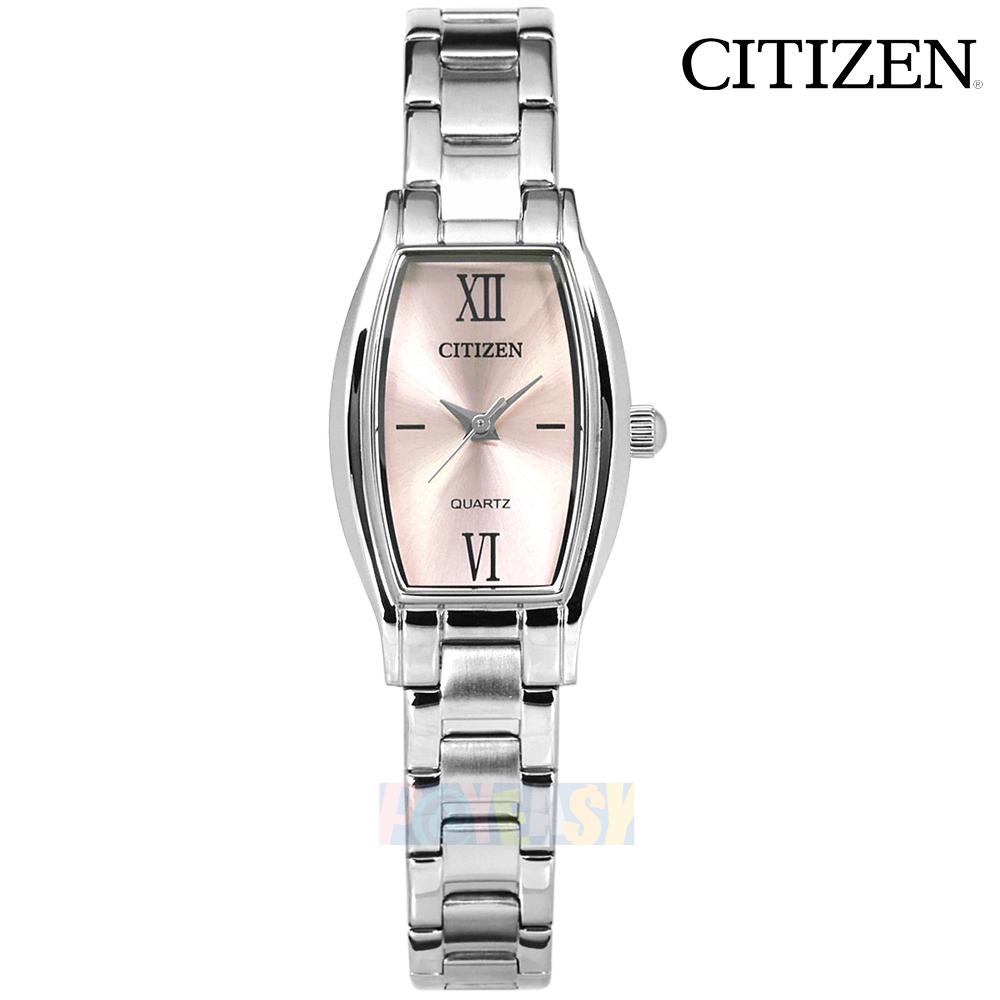 CITIZEN / EJ6110-58X / 细致秀气 罗马时标 矿石强化玻璃 酒桶型 不锈钢手表 银粉色 19mm
