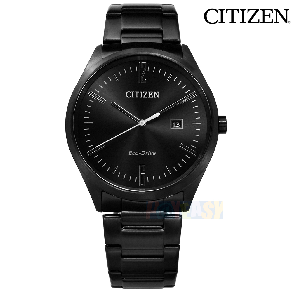 CITIZEN / BM7355-82E / 光动能 日期视窗 矿石强化玻璃 日本机芯 不锈钢手表 黑色 41mm