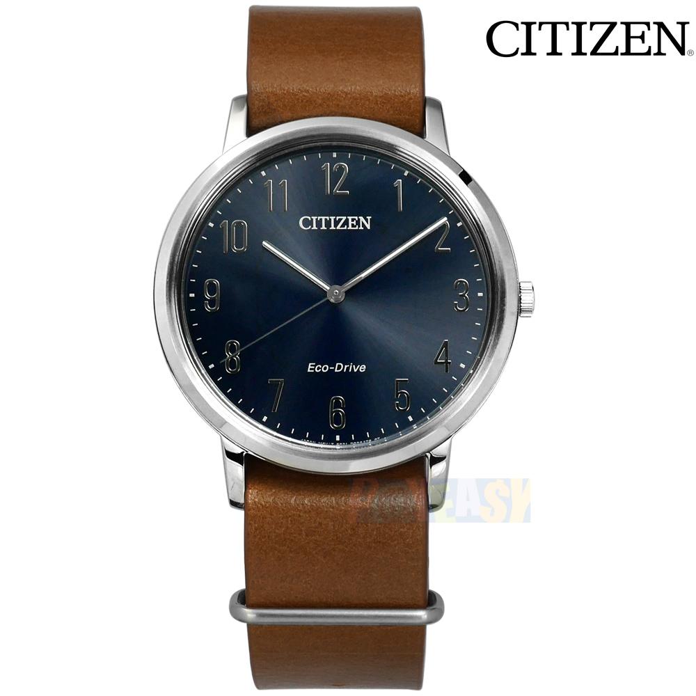CITIZEN / BJ6501-10L / 光动能 阿拉伯数字时标 矿石强化玻璃 日本机芯 牛皮手表 蓝x咖啡 40mm