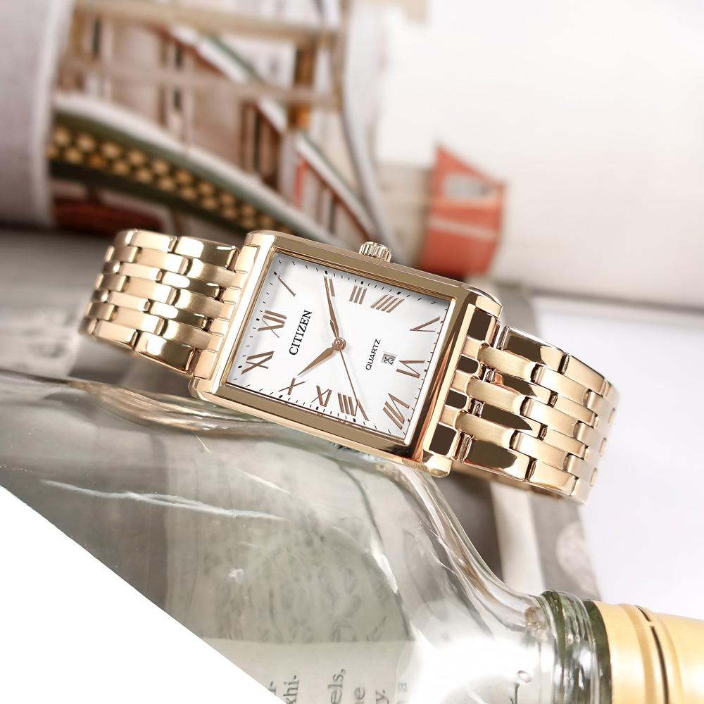 CITIZEN / BH3003-51A / 简约美誉 罗马时标 矿石强化玻璃 日本机芯 不锈钢手表 白x镀香槟金 25mm