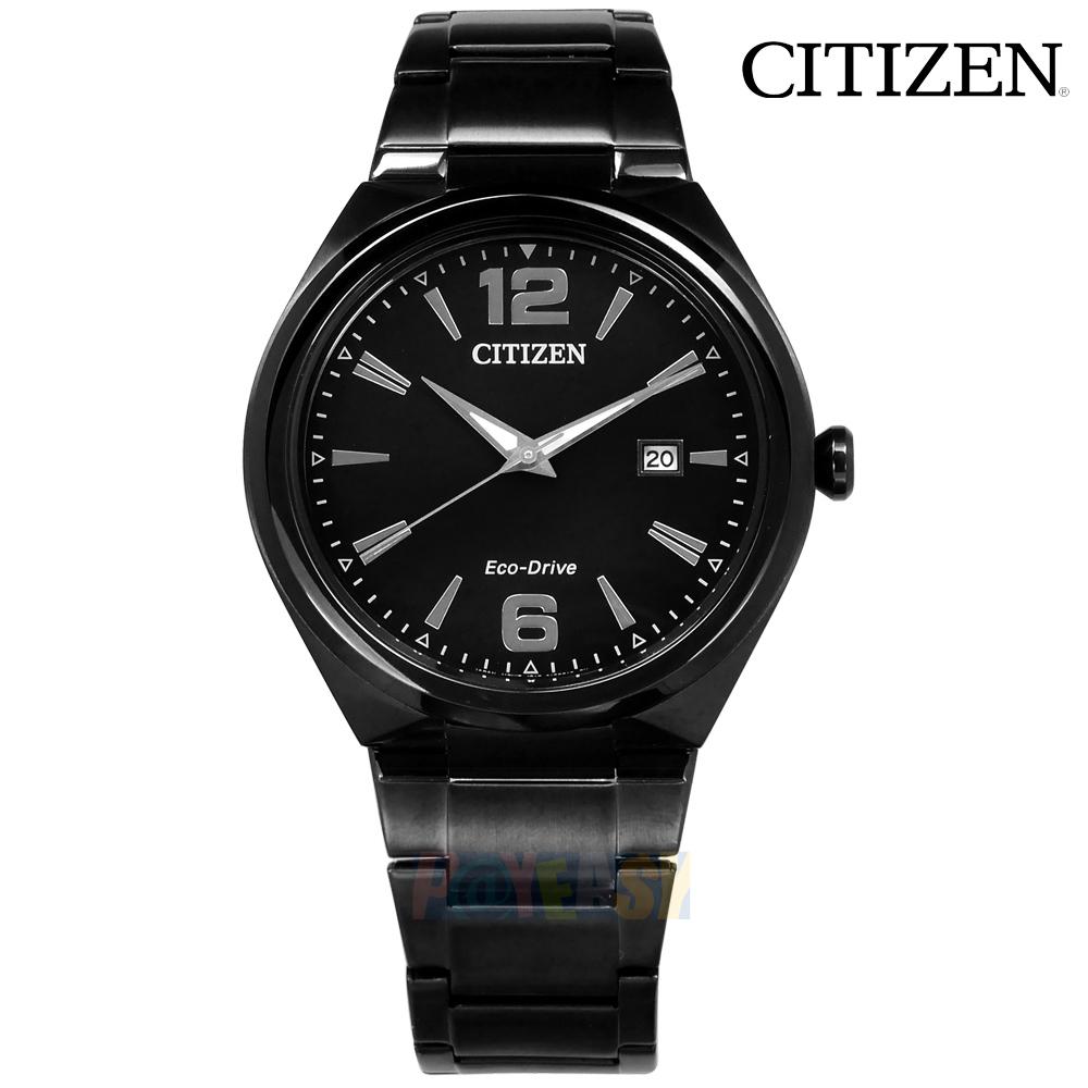 CITIZEN / AW1375-58E / 光动能 简洁尊爵 日期视窗 矿石强化玻璃 日本机芯 不锈钢手表 镀黑 41mm