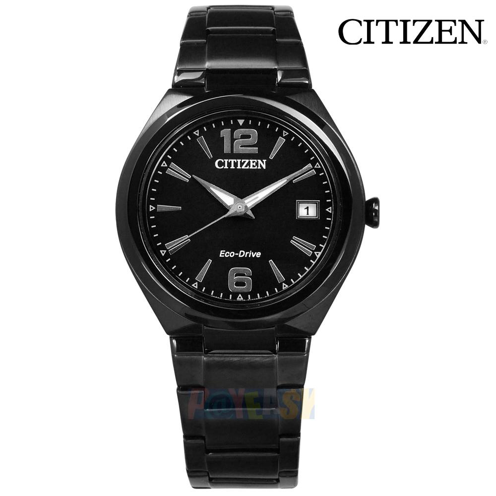 CITIZEN / FE6025-52E / 光动能 简洁细致 日期视窗 矿石强化玻璃 日本机芯 不锈钢手表 镀黑 35mm