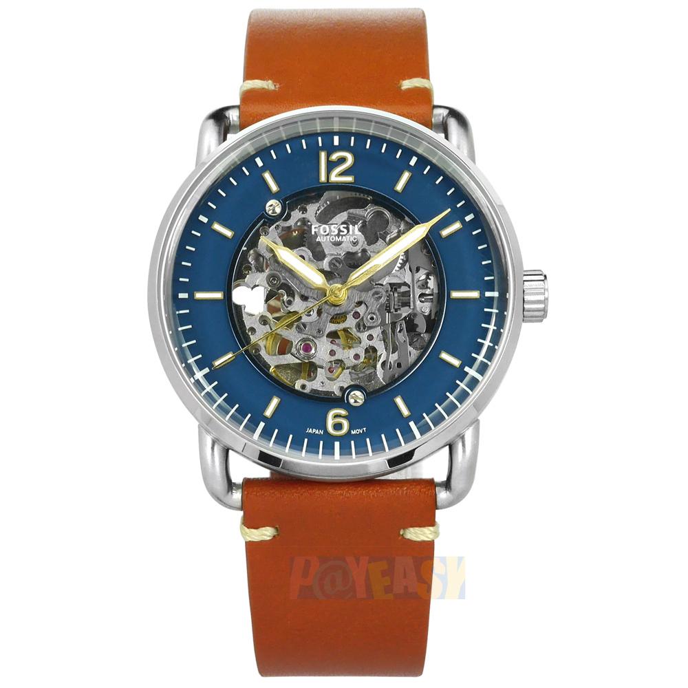 FOSSIL / ME3159 / 机械表 镂空表盘 自动上鍊 手动上鍊 真皮手表 蓝x橘棕 42mm
