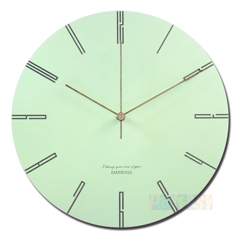 12吋 居家摆饰 轻薄简约 北欧风 无印风 边缘数字设计 餐厅客厅卧室 静音 圆挂钟 - 绿色