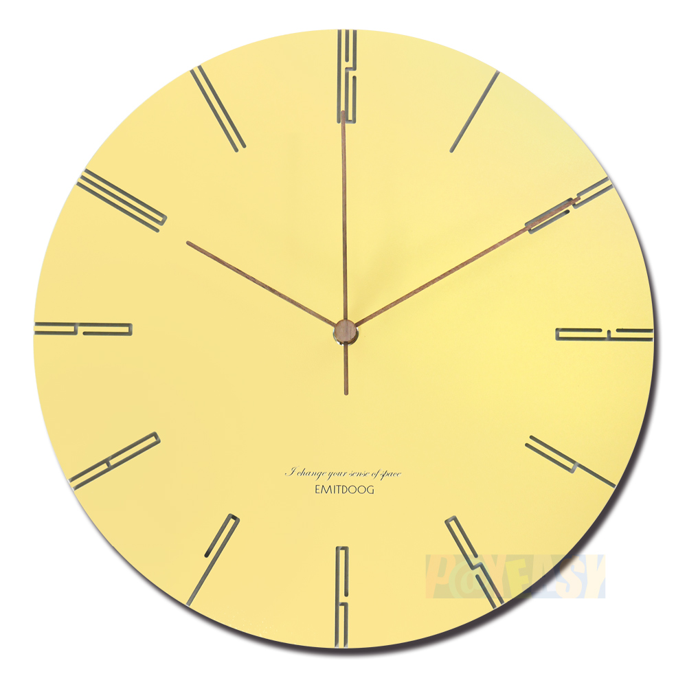 12吋 居家摆饰 轻薄简约 北欧风 无印风 边缘数字设计 餐厅客厅卧室 静音 圆挂钟 - 黄色