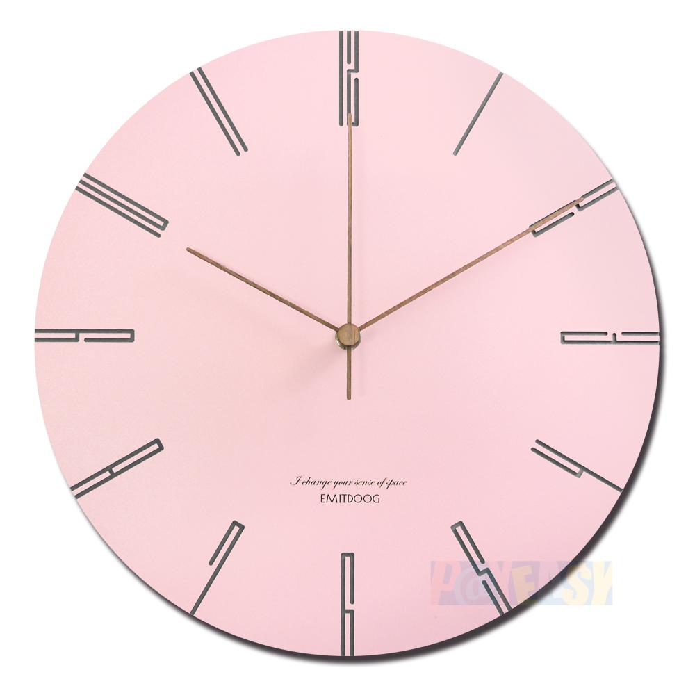 12吋 居家摆饰 轻薄简约 北欧风 无印风 边缘数字设计 餐厅客厅卧室 静音 圆挂钟 - 粉色