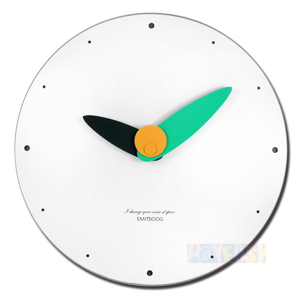 12吋 三色指针 居家摆饰 轻薄简约 北欧风 无印风 餐厅客厅卧室 静音 圆挂钟 - 白绿色