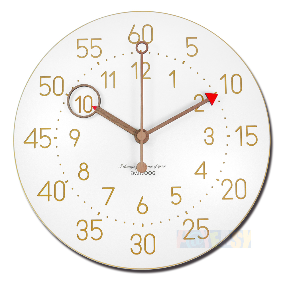 12吋 居家摆饰 轻薄简约 北欧风 无印风 数字时标 餐厅客厅卧室 静音 圆挂钟 - 白色