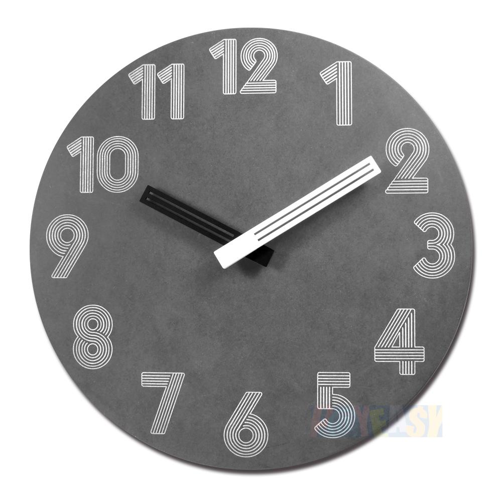 10吋 简约时尚 现代居家 轻薄简约 清水模 数字时标 餐厅客厅卧室 静音 圆挂钟 - 黑色