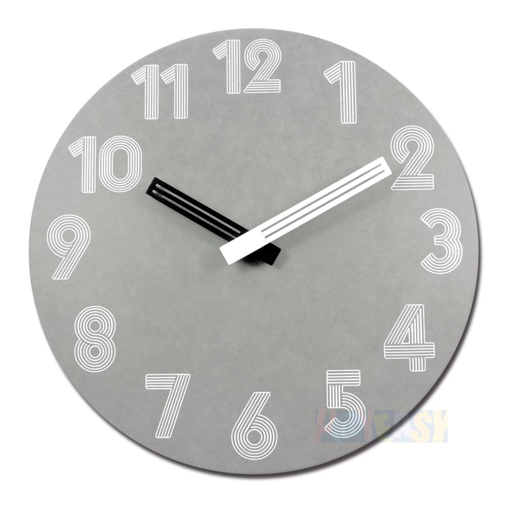 10吋 简约时尚 现代居家 轻薄简约 清水模 数字时标 餐厅客厅卧室 静音 圆挂钟 - 灰色
