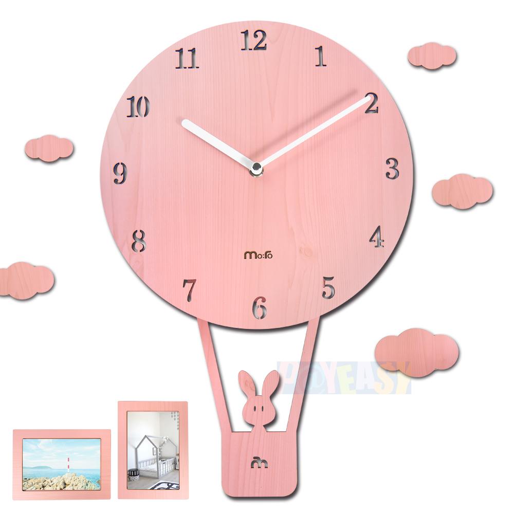 10吋 小兔热气球 居家摆饰 轻薄简约 儿童房 儿童卧室 餐厅客厅 静音摇摆挂钟 - 粉色