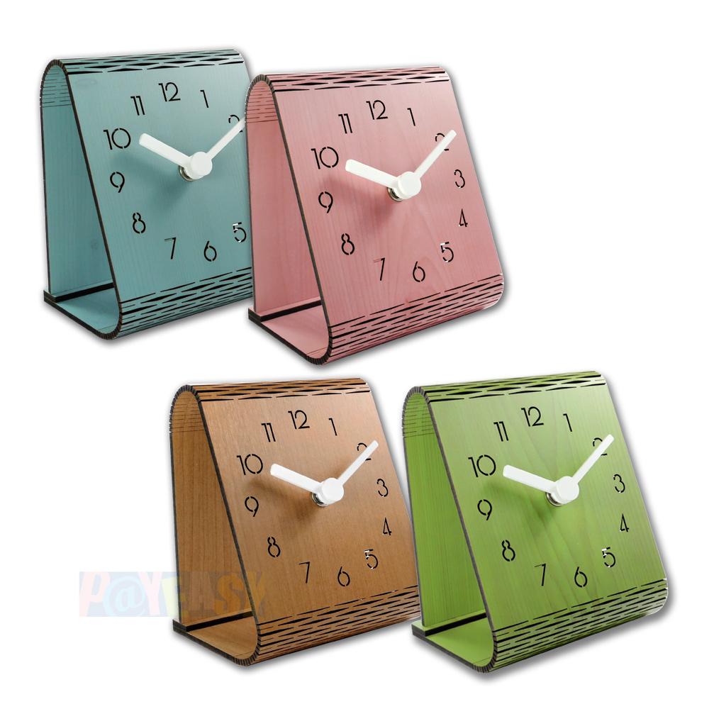 简约时尚 现代居家 木纹 日式 风格 餐厅客厅卧室床头 阿拉伯数字 静音座钟 时钟 - 粉/蓝/绿/原木