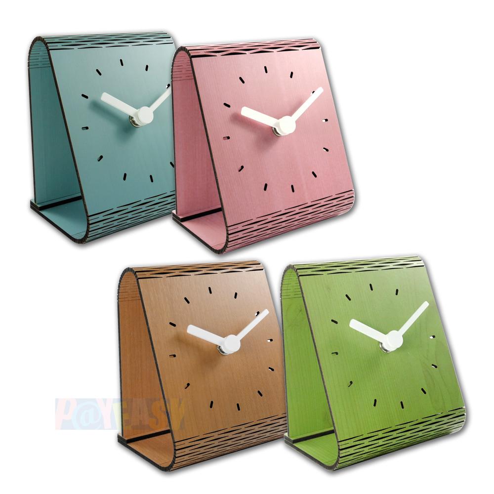 简约时尚 现代居家 木纹 日式 风格 餐厅客厅卧室床头 桌上型 静音座钟 时钟 - 粉/蓝/绿/原木