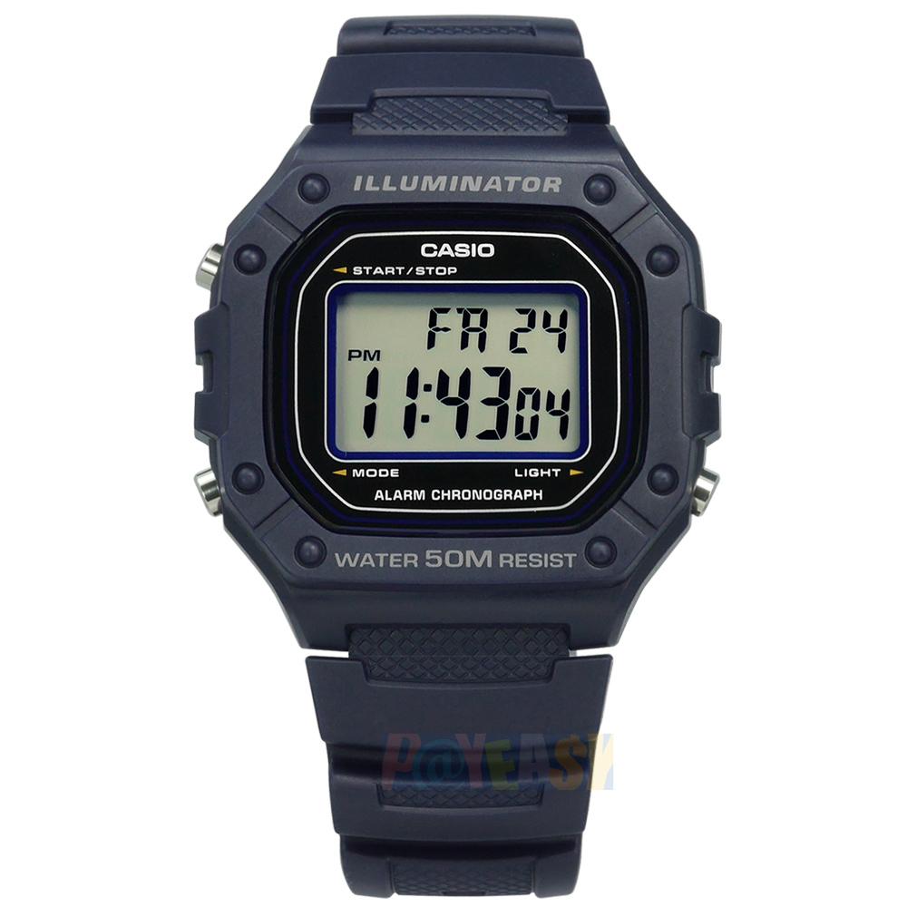CASIO / W-218H-2A / 卡西欧 复古方型 计时码表 LED照明 闹铃 电子 橡胶手表 蓝紫色 42mm