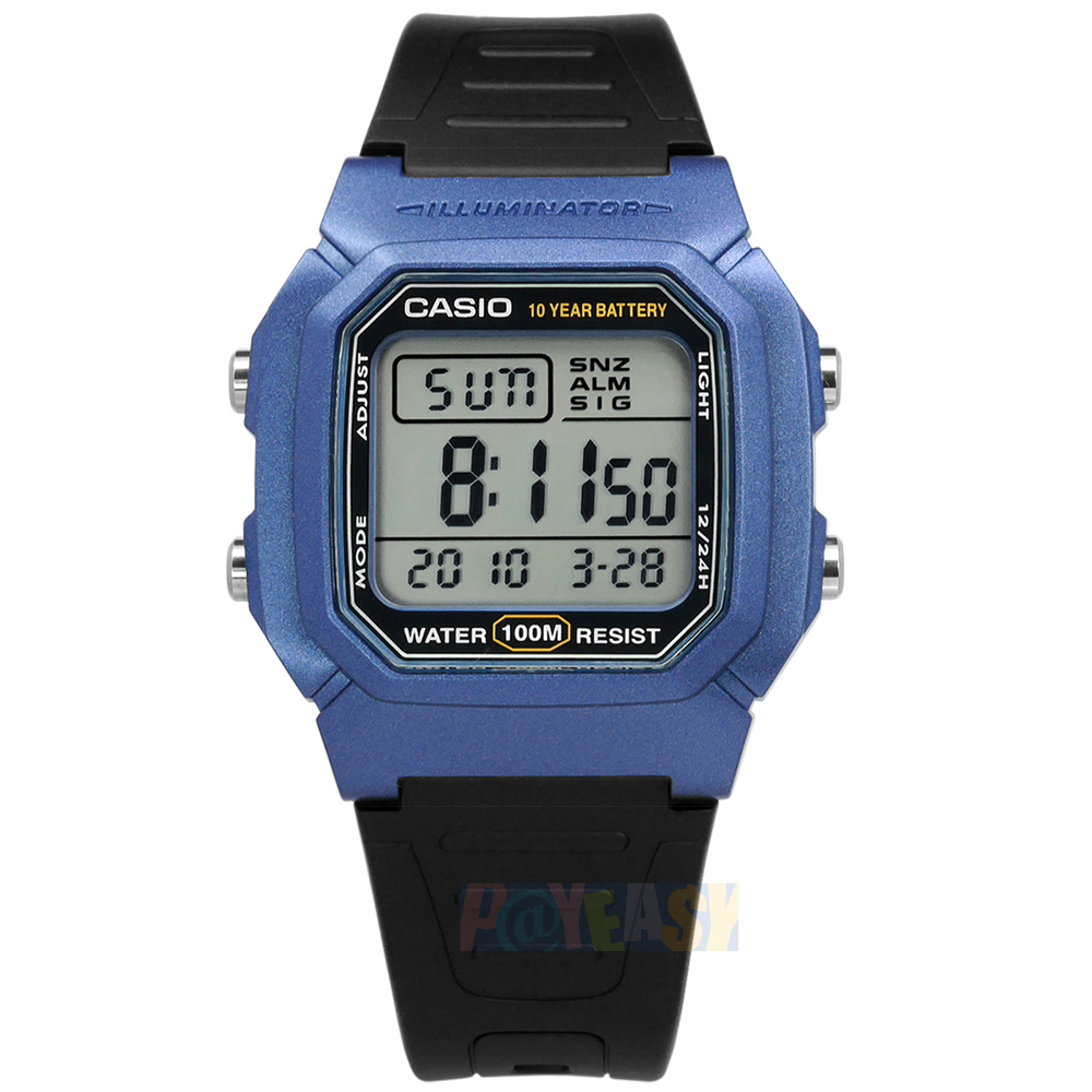 CASIO / W-800HM-2A / 卡西欧 两地时间 计时码表 LED照明 闹铃 防水100米 电子橡胶手表 蓝黑色 37mm