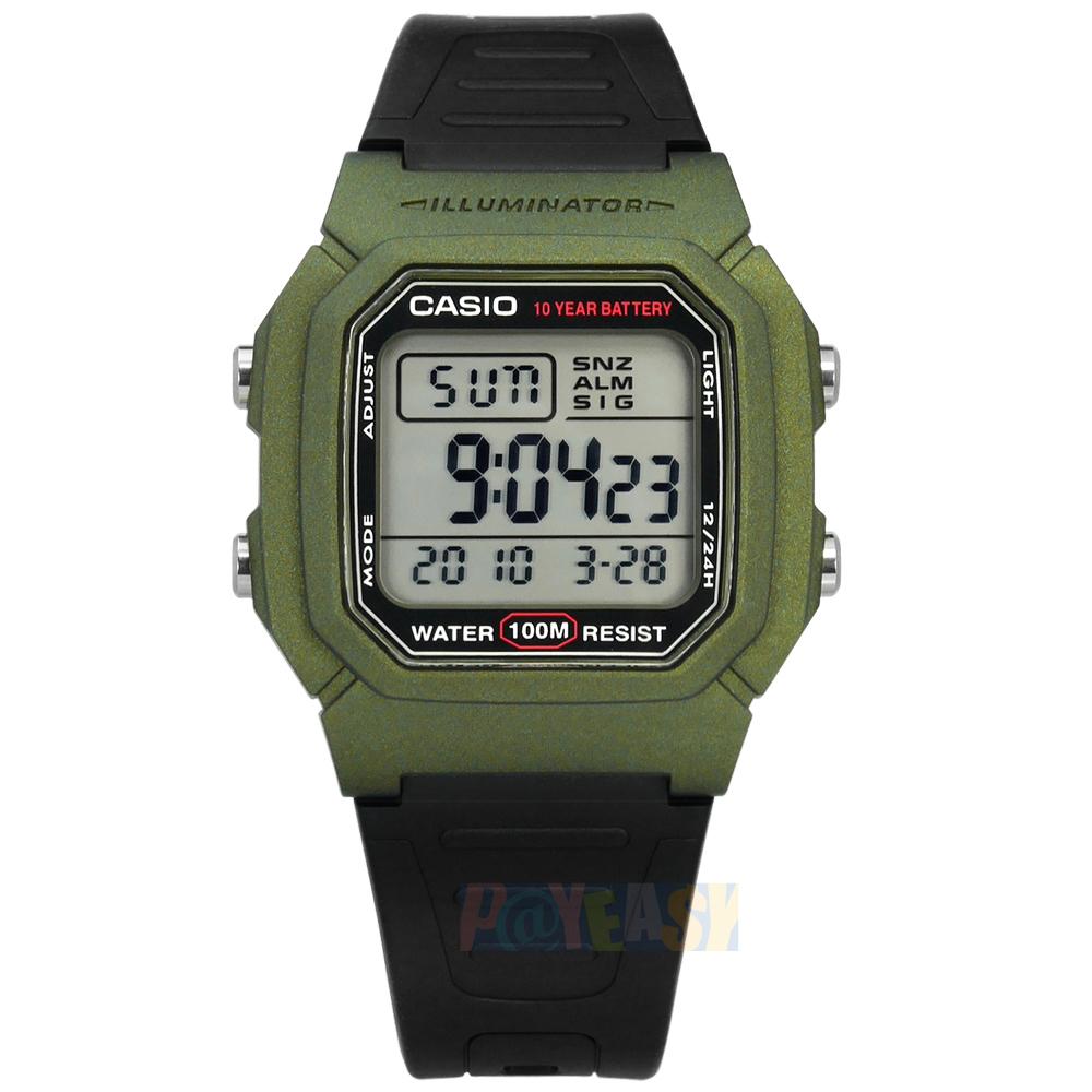 CASIO / W-800HM-3A / 卡西欧 两地时间 计时码表 LED照明 闹铃 防水100米 电子橡胶手表 绿黑色 37mm