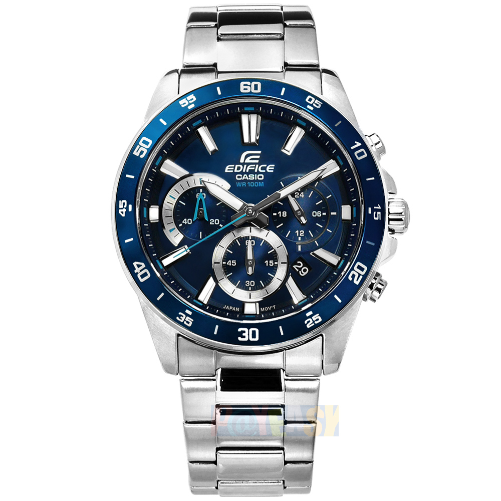 EDIFICE CASIO / EFV-570D-2A / 卡西欧 经典三眼 计时码表 日期 防水100米 不锈钢手表 蓝色 42mm