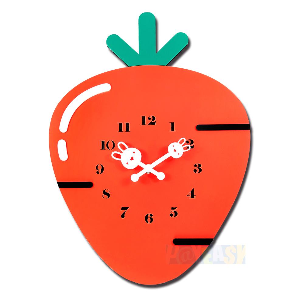 疗癒系 居家摆饰 红萝卜造型 餐厅客厅卧室儿童房 静音挂钟 - 红色