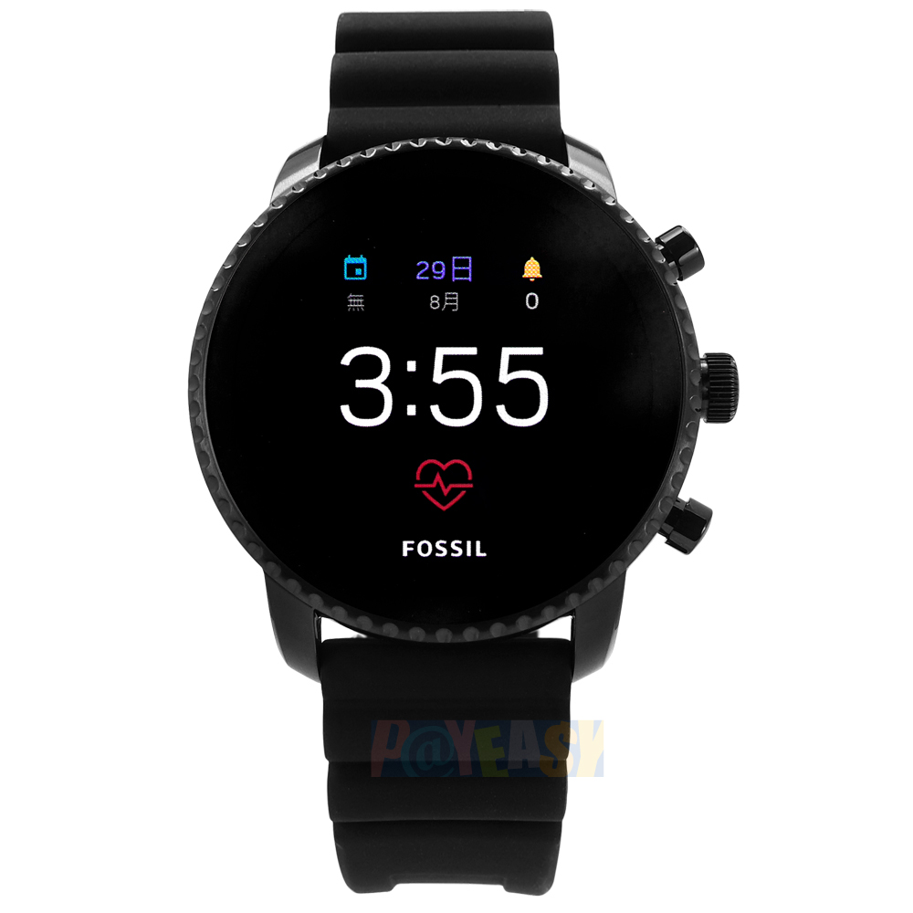 FOSSIL Q / FTW4018 / GEN 4 Q Explorist 智慧型 触控 蓝牙连线 矽胶手表 黑色 45mm