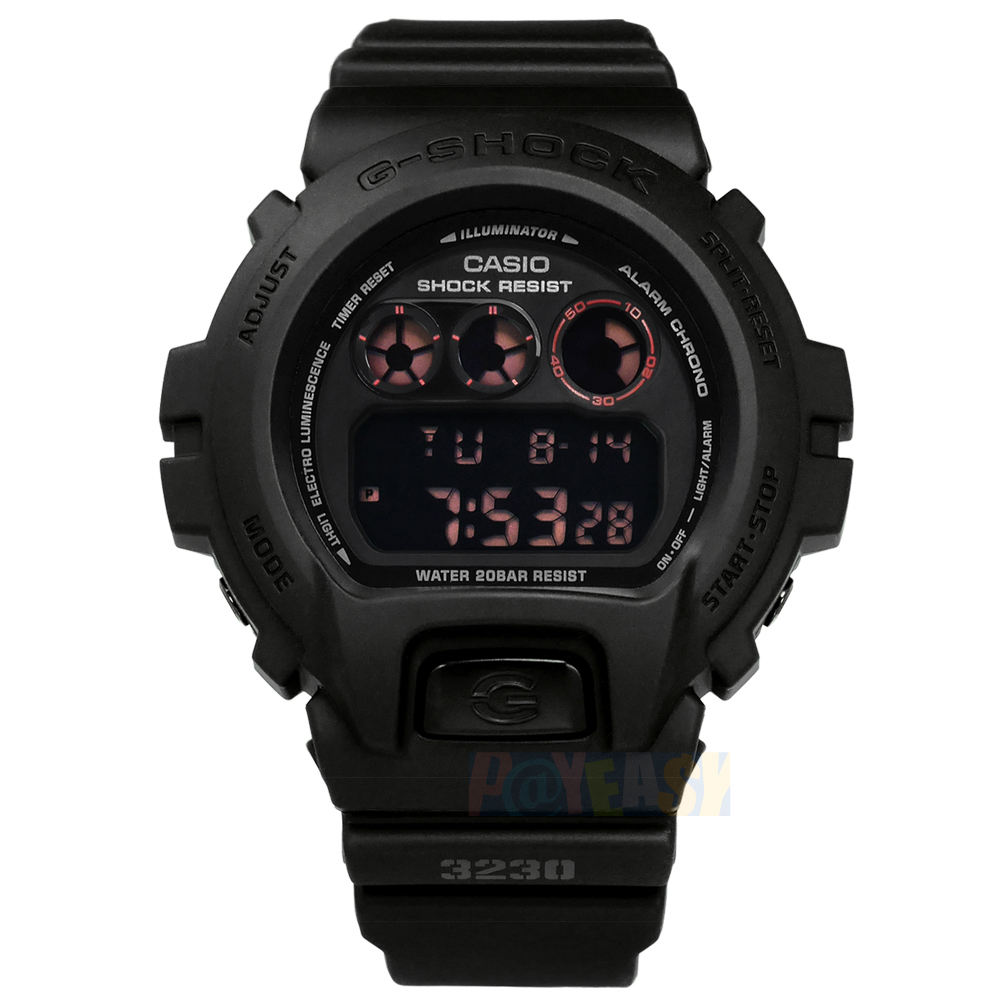 G-SHOCK CASIO / DW-6900MS-1 / 卡西欧 经典雾黑 电子液晶 运动计时 防水200米 橡胶手表 黑色 48mm
