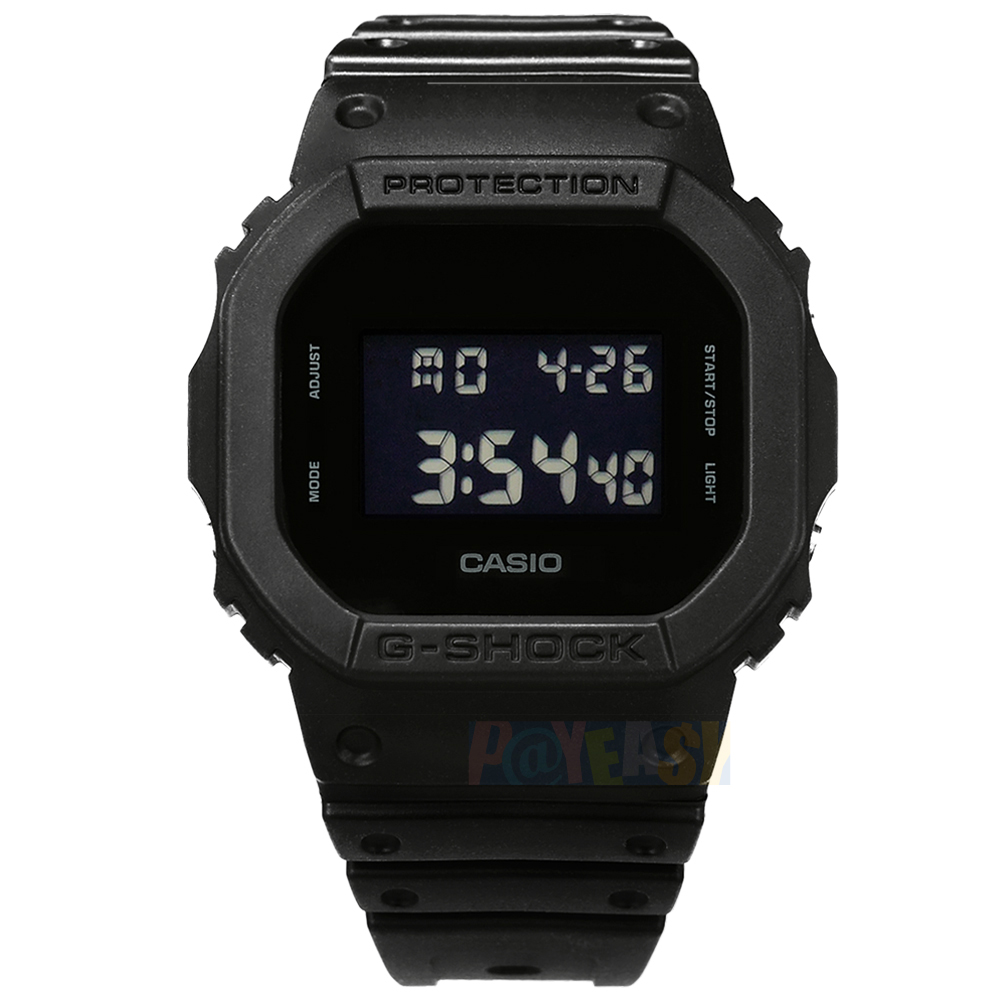 G-SHOCK CASIO / DW-5600BB-1 / 卡西欧 简约经典 电子液晶 码表计时 防水200米 运动 橡胶手表 黑色 44mm