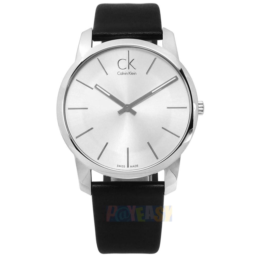 CK  K2G211C6  City 城市都會 品味 礦石強化玻璃 瑞士  皮革手錶 銀x黑 43mm