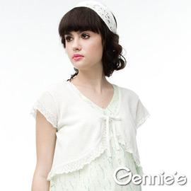 [Gennie's奇妮]百搭針織綁帶春夏孕婦短版小外套(三色可選)(CSU61)