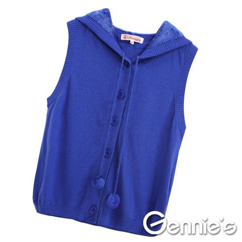 [Gennie's奇妮]素面連帽休閒孕婦針織背心外套/罩衫(兩色可選)(GSY11)