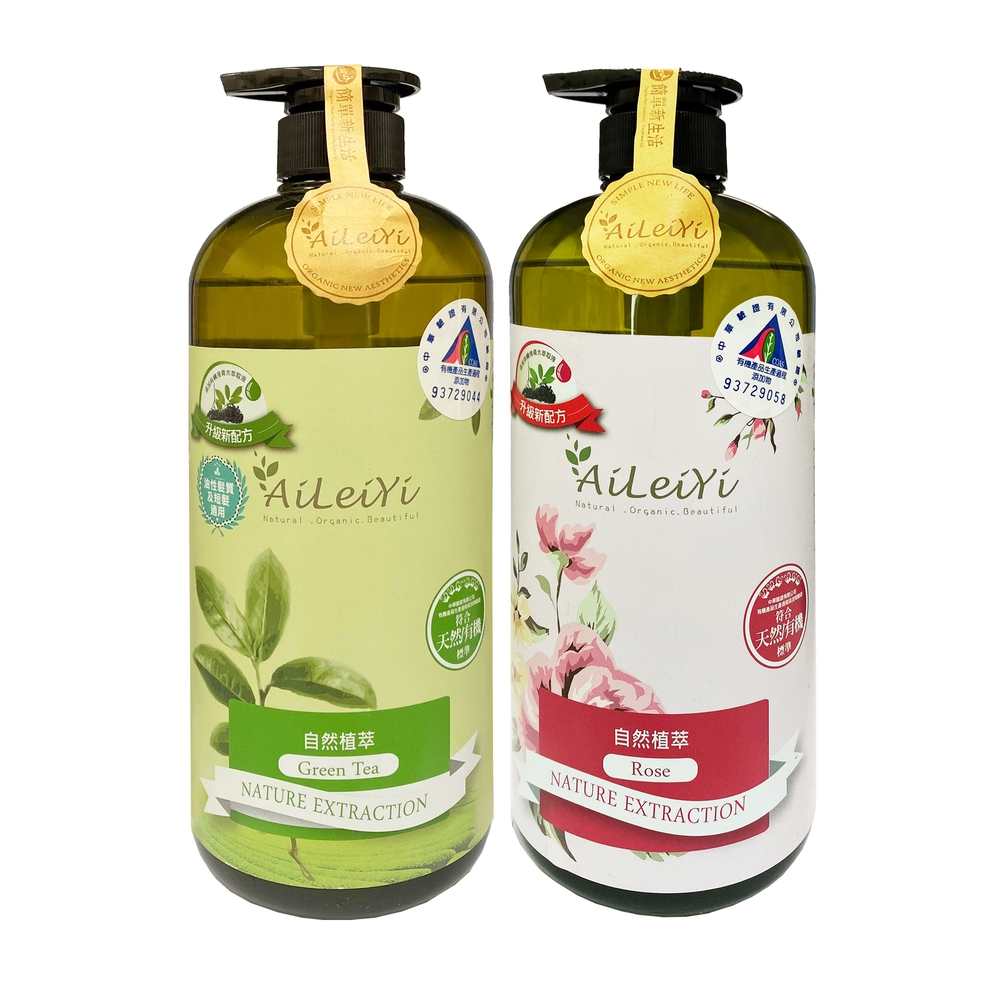 AiLeiYi天然修護洗髮精-清新綠茶+天然潤膚沐浴精-玫瑰花香1000ml