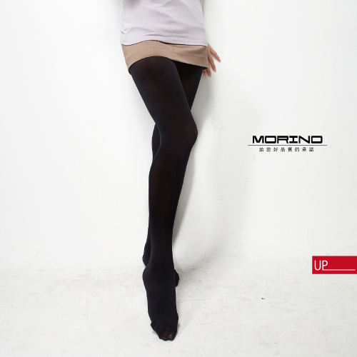 【MORINO】厚刷裡起毛防風褲襪-黑